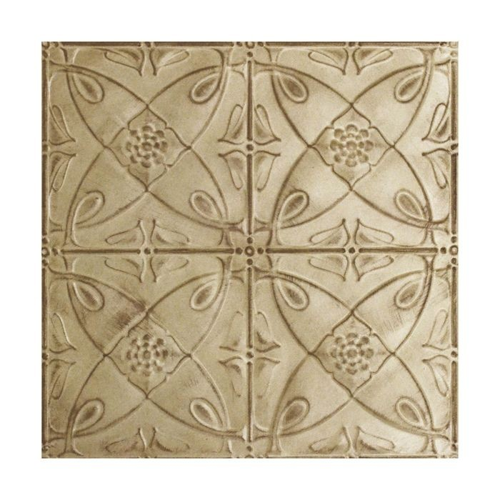 Tin Plated Stamped Steel Ceiling Tile | Nail Up/Glue Up Ceiling Tile | 2ft Sq | Antique Cream Finish