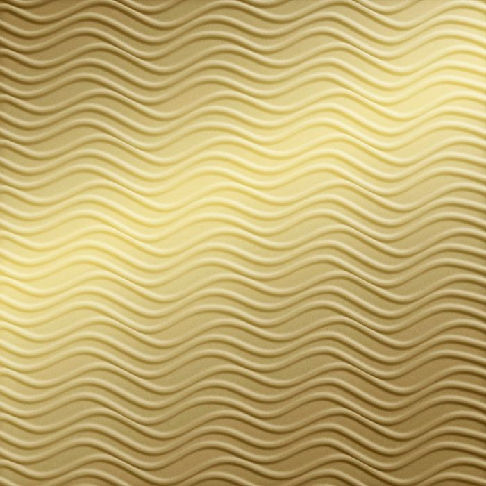 10' Wide x 4' Long Wavation Pattern Mirror Gold Finish Thermoplastic Flexlam Wall Panel