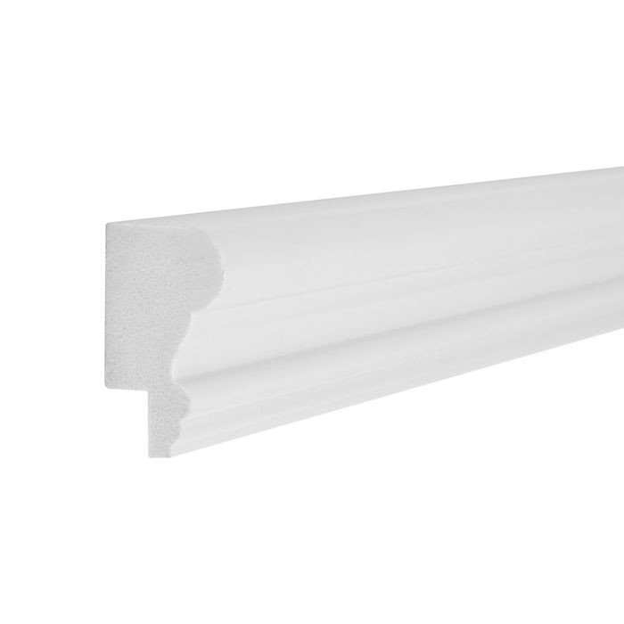 1-3/4in H x 1in Proj | Eggshell White High Impact Polystyrene | Cap and Backband Moulding | 8ft Long