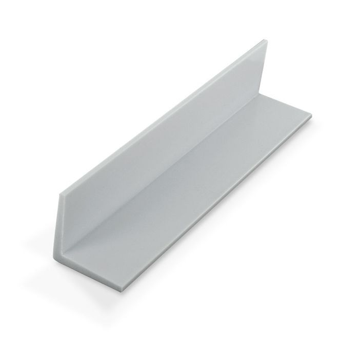 1-1/2in x 1-1/2in x 1/8in Thick | White Styrene Even Leg | 90° Angle Moulding | 12ft Length