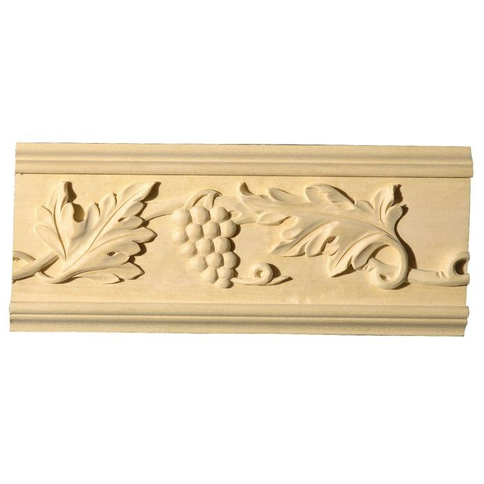 4-7/8in H x 3/4in Proj | White Hardwood Unfinished Hand Carved Wood Panel Moulding | 8ft Long