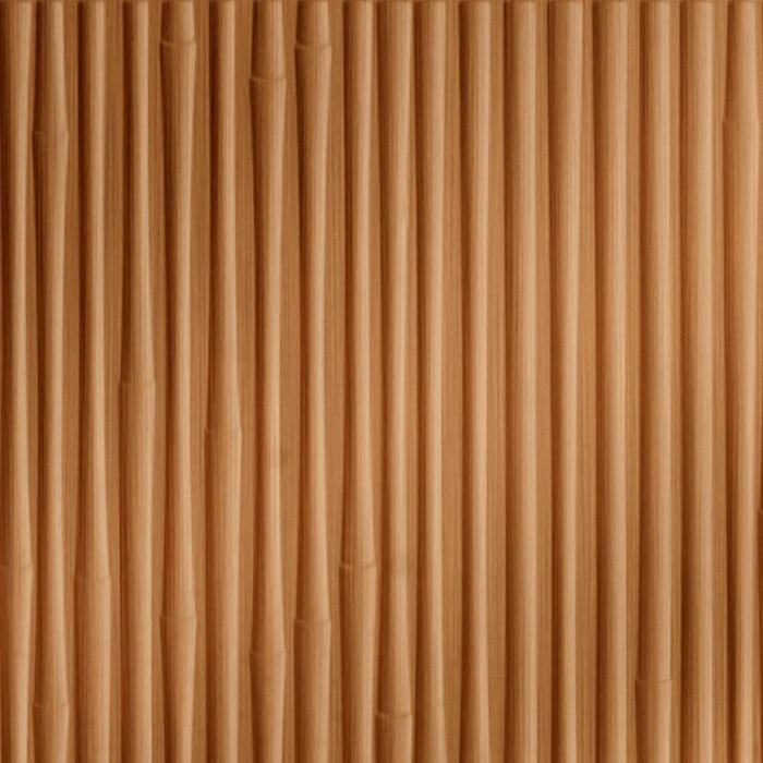 FlexLam 3D Wall Panel | 4ft W x 10ft H | Bamboo Pattern | Brushed Copper Finish