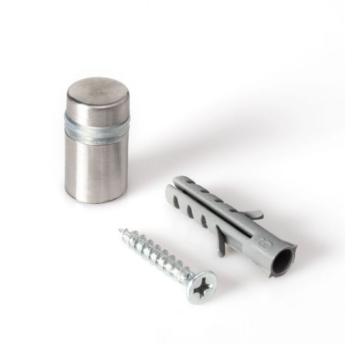 "1/2"" Diameter x 1/2"" Barrel Length Brushed Stainless Finish Eco Lite Series Easy Fasten Standoff"