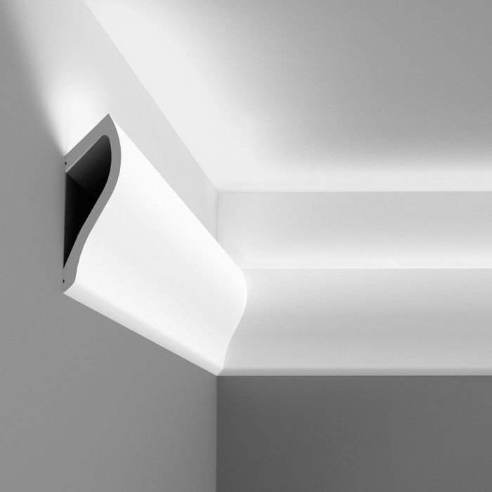 Orac Decor | High Density Polyurethane Moulding for Indirect Lighting | Primed White | Face 7-1/2in x 78in Long