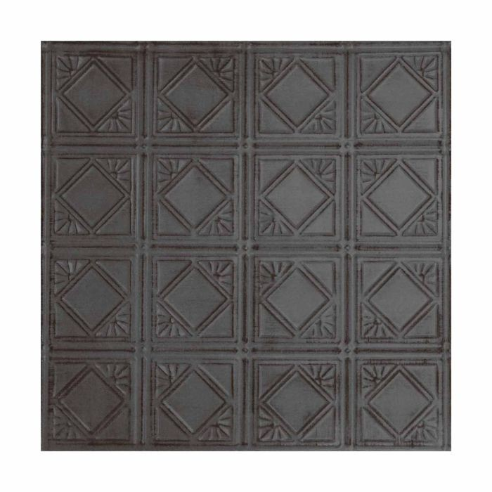 Tin Plated Stamped Steel Ceiling Tile | Nail Up/Glue Up Ceiling Tile | 2ft Sq | Antique Steel Rust Finish