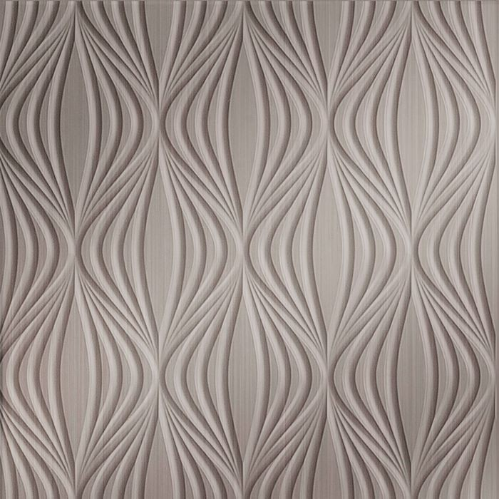 10' Wide x 4' Long Shallot Pattern Brushed Nickel Finish Thermoplastic Flexlam Wall Panel