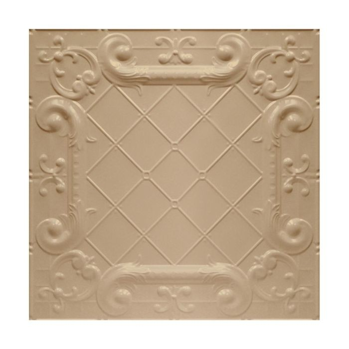 Tin Plated Stamped Steel Ceiling Tile | Nail Up/Glue Up Ceiling Tile | 2ft Sq | WarmWhite Finish