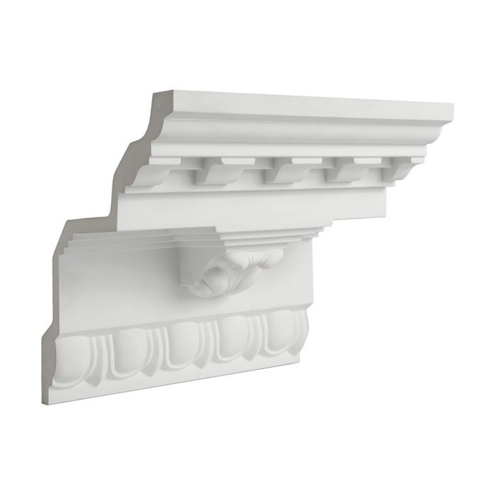 12-1/2in Face x 8-5/8in H x 9in Proj | Primed White Polyurethane | Crown Moulding | 6in Sample Piece