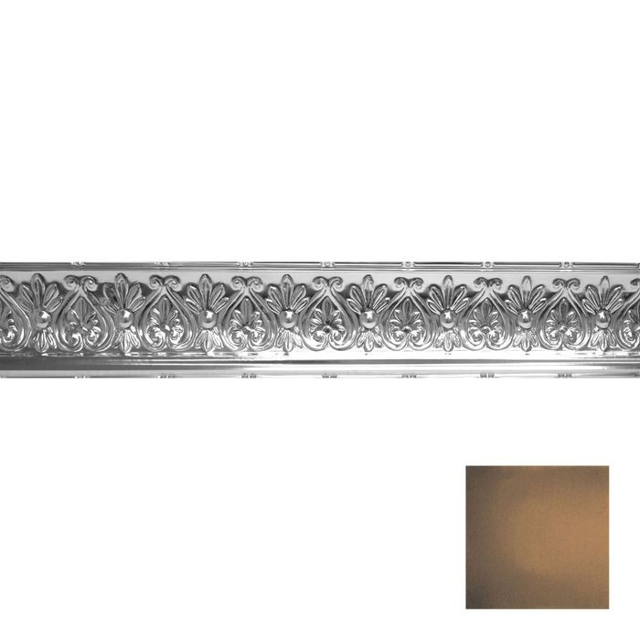 Tin Plated Stamped Steel Cornice | 6-1/4in H x 6-5/8in Proj | Antique Rustic Black Finish | 4ft Long