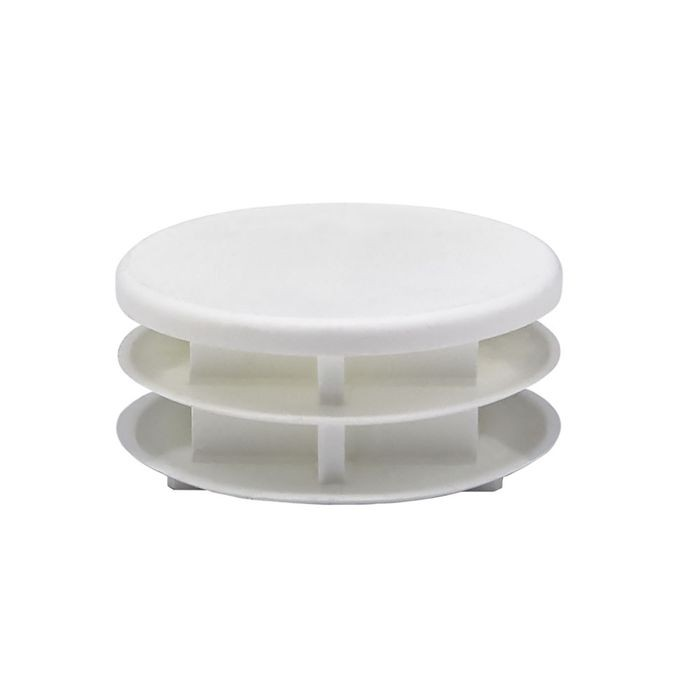 1-3/4in Dia | 14 - 23 Gauge | White Matte Finish Textured Low Density Polyethylene | Plastic Universal Gauge Inside End Cap for Tubing