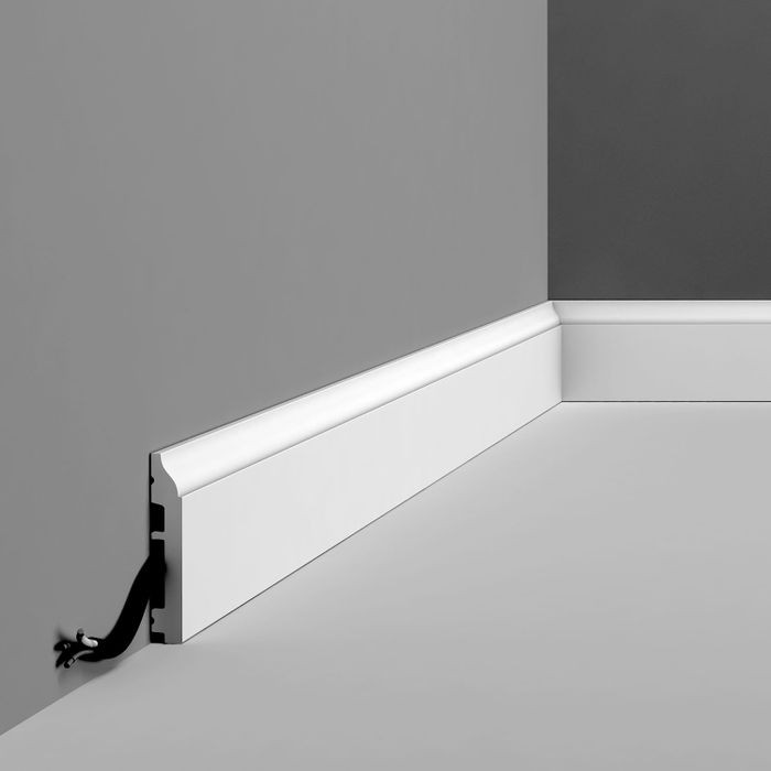 Orac Decor | High Impact Polystyrene Baseboard Moulding | Primed White | 3-3/8in H x 78in Long