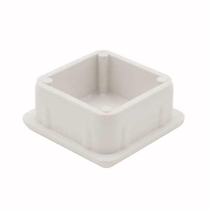 1-1/8in Sq | 18 Gauge White ABS | Plastic Inside End Cap for Tubing