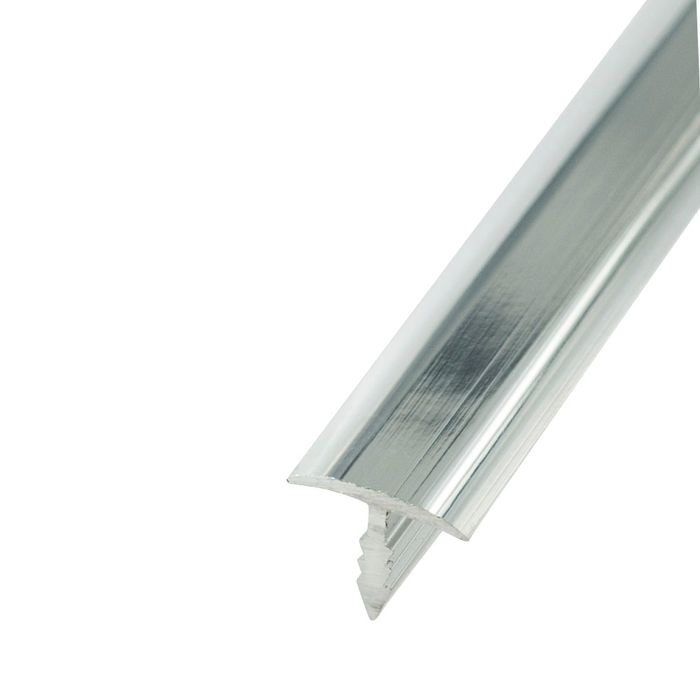 1/2in Mechanical Polished Finish Flat Aluminum | Center Barb Tee Moulding | 12ft Length