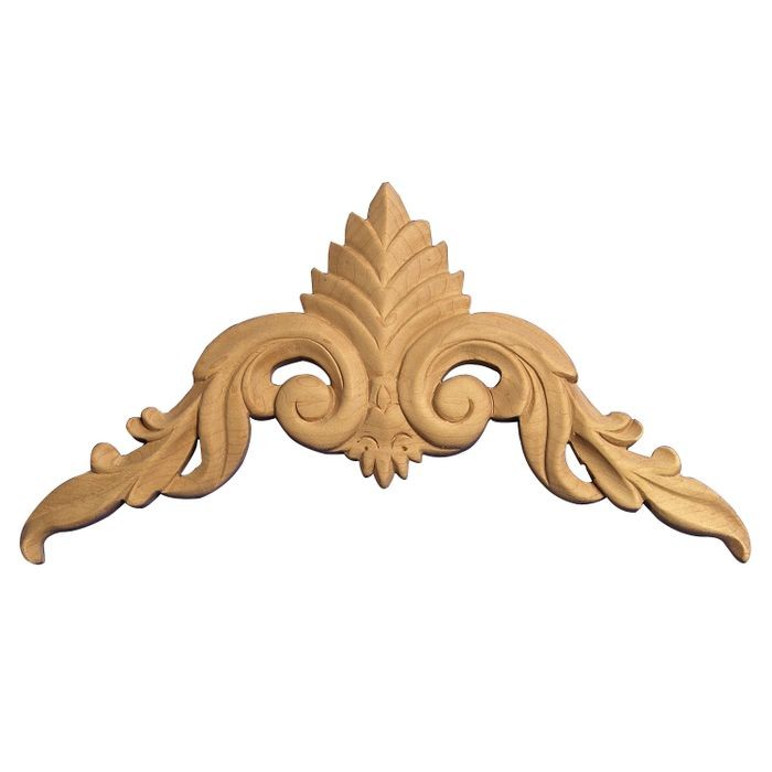 Hand Carved Unfinished Solid North American Hardwood Cartouche Applique