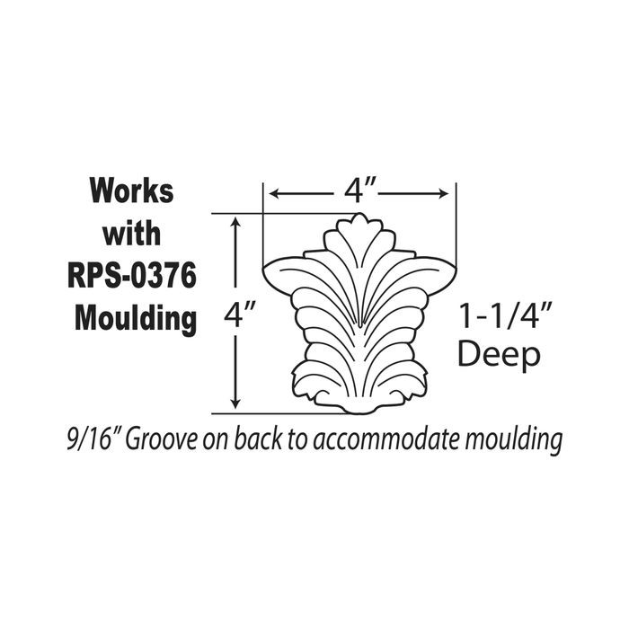 High Street Market Architectural Trim Wainscoting: Window Casing Moulding Keystone Applique 4in H X 1-1/4in