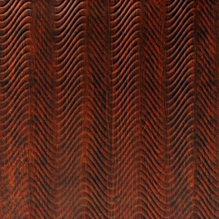 10' Wide x 4' Long Curves Pattern African Walnut Finish Thermoplastic Flexlam Wall Panel