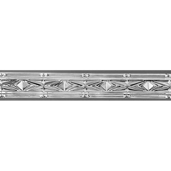 Tin Plated Stamped Steel Cornice | 3in H x 3-1/2in W x 3in Proj | Steel Finish | 4ft Long