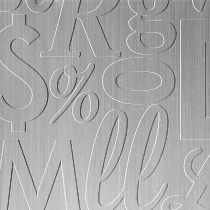 10' Wide x 4' Long Alphabet Soup Pattern Brushed Aluminum Finish Thermoplastic Flexlam Wall Panel