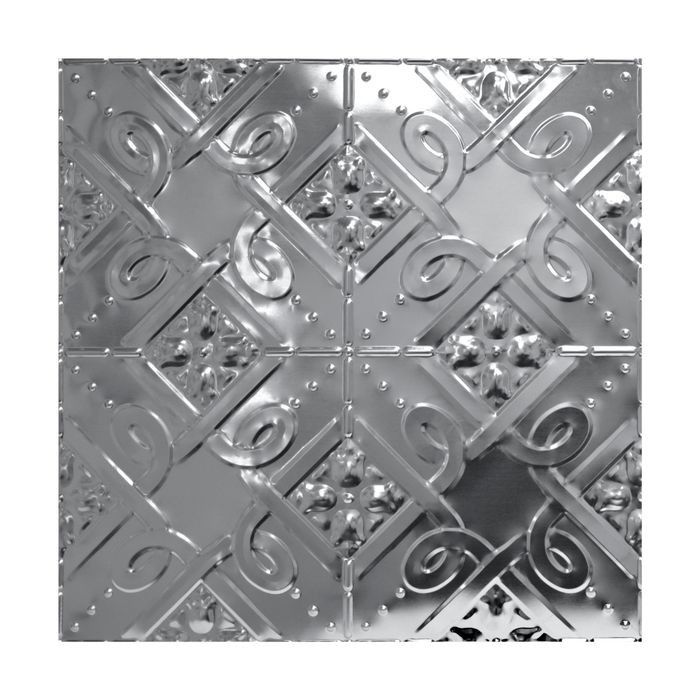 Tin Plated Stamped Steel Ceiling Tile | Nail Up/Glue Up Ceiling Tile | 2ft Sq | Steel Finish