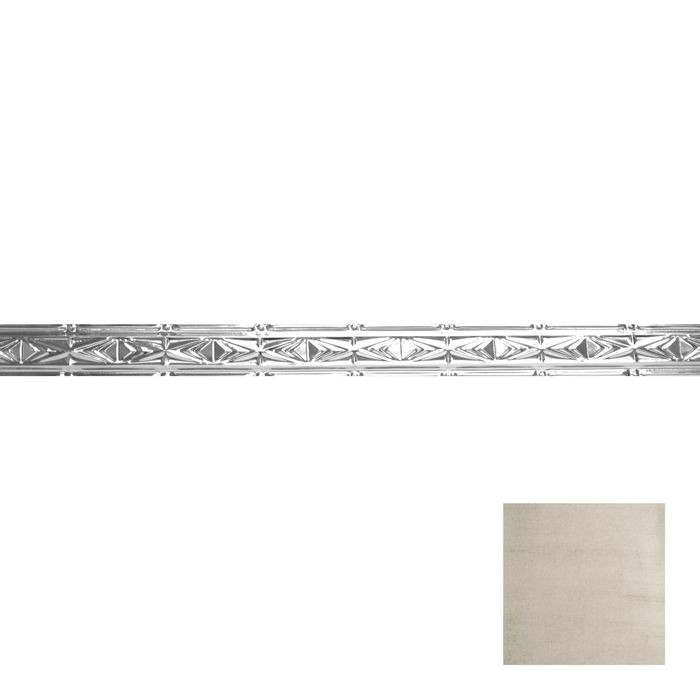Tin Plated Stamped Steel Cornice | 3-1/2in H x 3in Proj | Old Lace Finish | 4ft Long