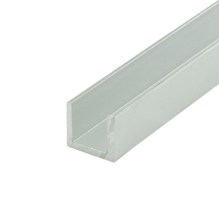 1/2in | Mill Finish | Aluminum U Channel Moulding | 12ft Length