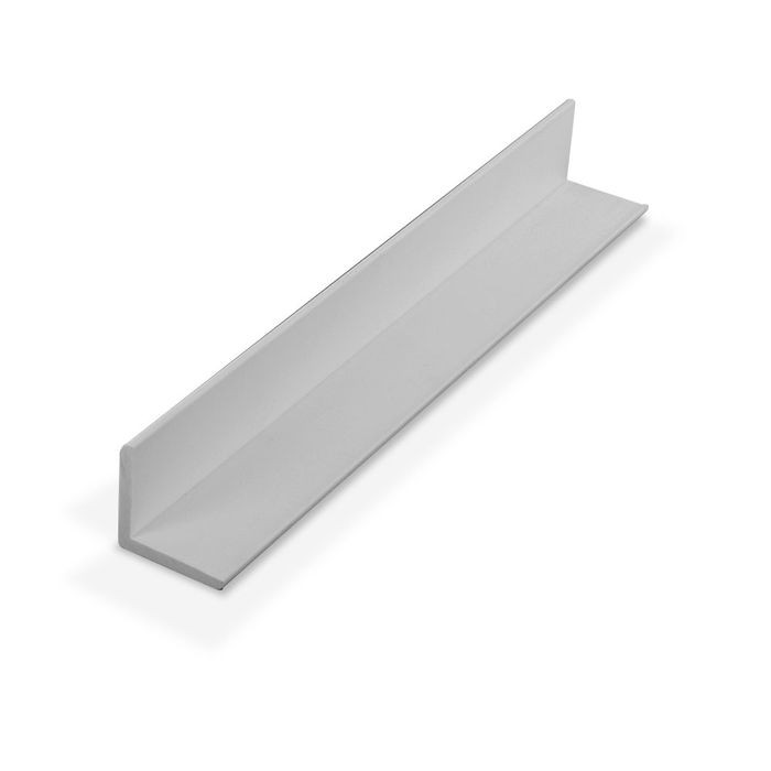 1in x 1in x 7/64in (.100in) Thick | White Styrene Even Leg | 90° Angle Moulding | 12ft Length