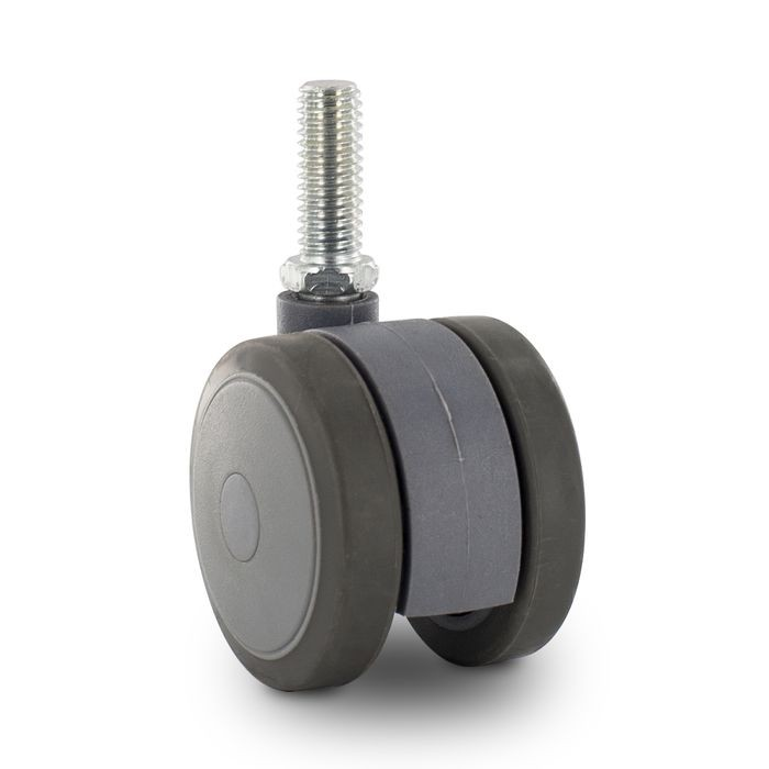 "2"" Diameter Two-Tone Gray Swivel Twin Wheel Series Institutional Caster With 3/8-16 x 1"" Long Threaded Stem"