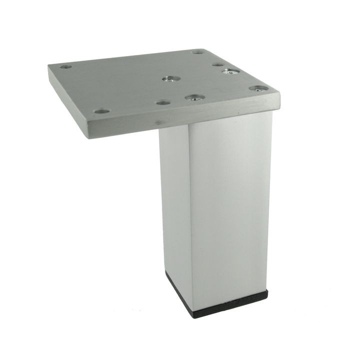 4in H | Satin Chrome Aluminum | Furniture Leg with Plate