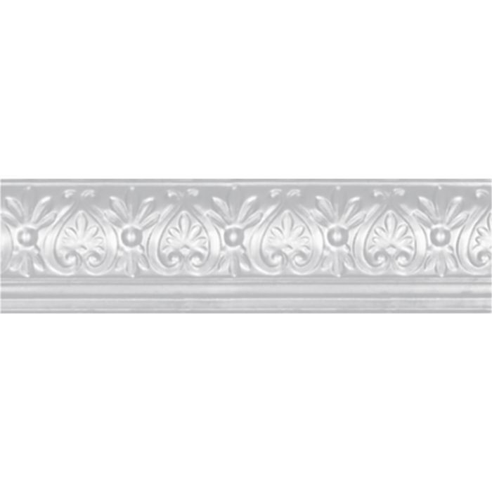 Tin Plated Stamped Steel Cornice | 6-5/8in H x 9in W x 6-1/4in Proj | White Finish | 4ft Long