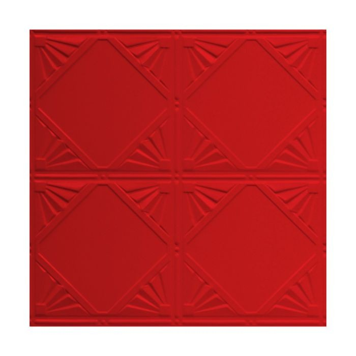 Tin Plated Stamped Steel Ceiling Tile | Nail Up/Glue Up Ceiling Tile | 2ft Sq | Fire Engine Red Finish