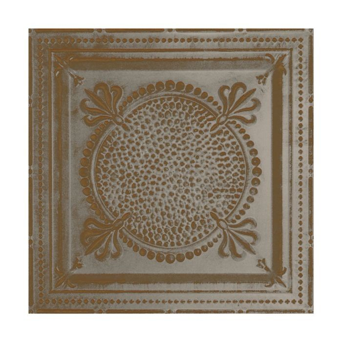 Tin Plated Stamped Steel Ceiling Tile | Lay In | 2ft Sq | Copper Verde Finish