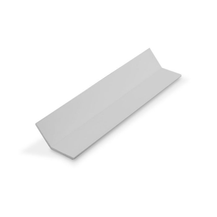 "1"" x 1"" x 7/64"" (.100"") Thick White Styrene Even Leg  Angle Moulding 12' Length"