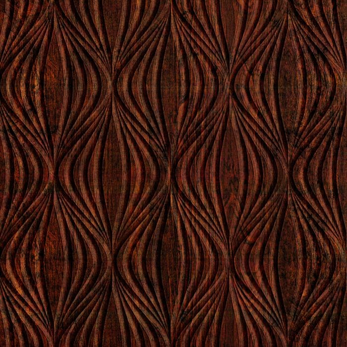 10' Wide x 4' Long Shallot Pattern African Cherry Finish Thermoplastic Flexlam Wall Panel