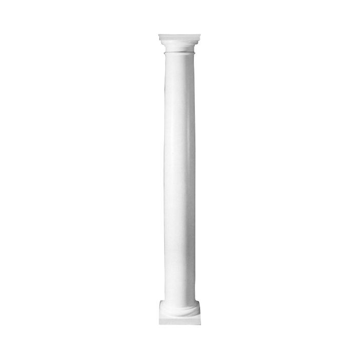 "10' High x 16"" Diameter Plain Round Tapered Fiberglass Structural Column with Tuscan Style Capital and Base"