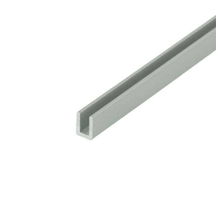 "1/8"" Clear Anodized (Satin) Finish Aluminum U Channel Moulding 12' Length"