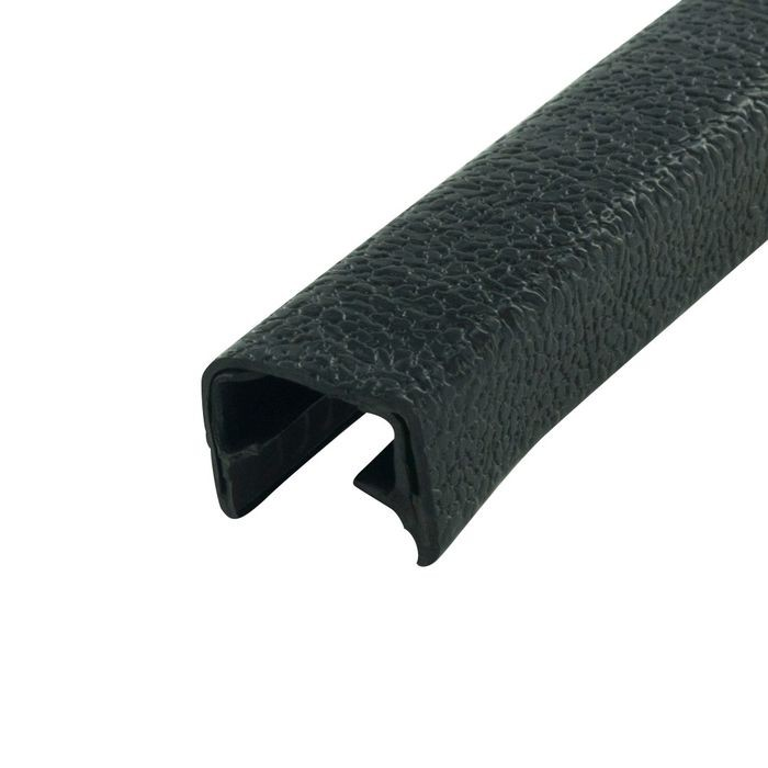 1/2in | Black Embossed PVC with Segmented Metal Core | Flexible U Channel Moulding 150ft Coil