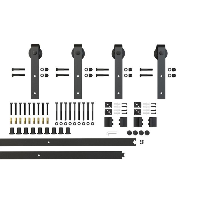 Sliding Barn Door Hardware Kits for Double Wood Doors Up to 34in W | Black Powder Coated Finish | Non Routed | 135-3/4in Rail Length