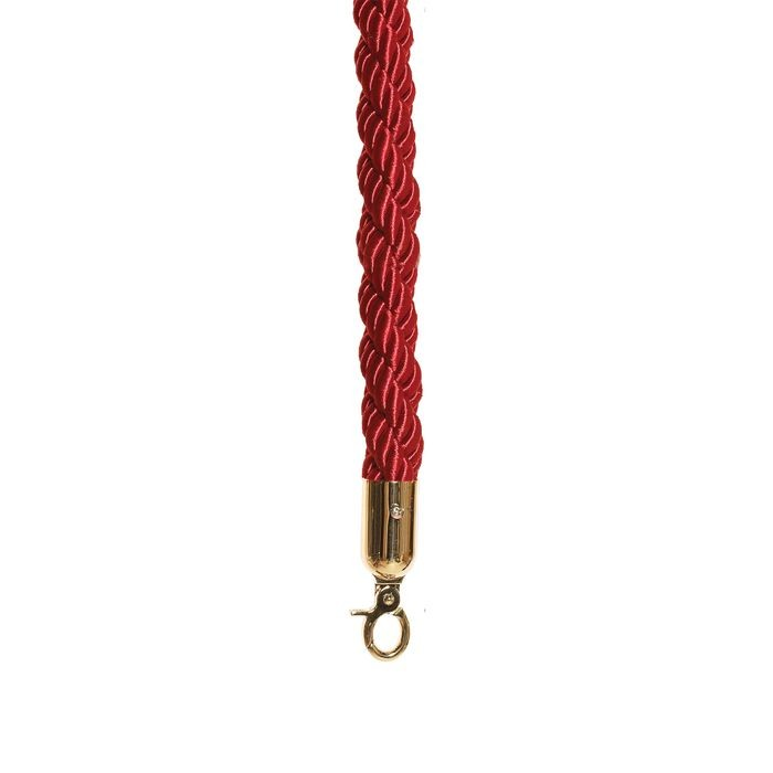 Red Braided Premium Rope with Polished Brass Snap Hook 4' Length