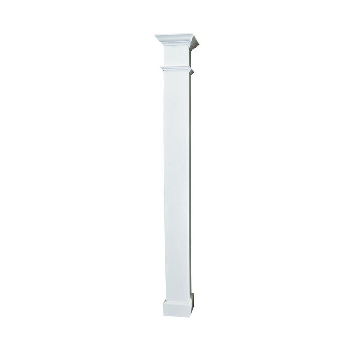 "10' High x 8"" Wide White Matte Elite Aluminum Square Plain Column"