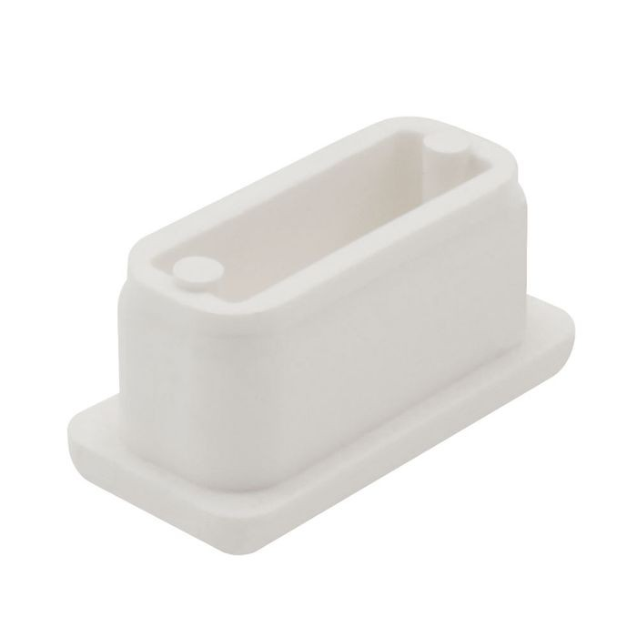 "1"" x 2"" Rectangular 11 Gauge White Matte Finish ABS Plastic Inside End Cap for Tubing"