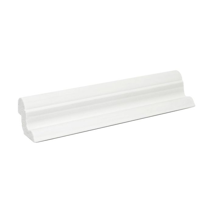 1-1/8in H x 1-1/2in Proj | Primed White High Impact Polystyrene | Cap and Backband Moulding | 6in Sample Piece