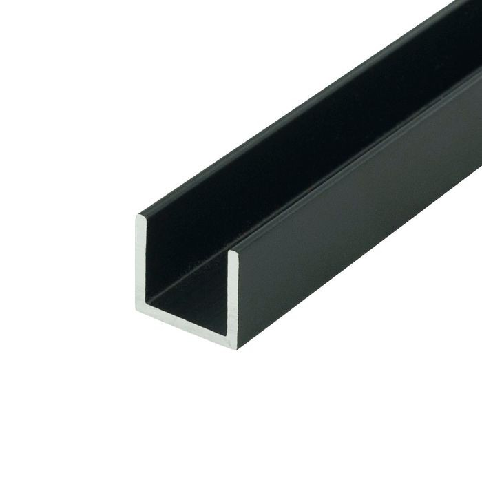 "1/2"" Black Aluminum U Channel Moulding 12' Length"