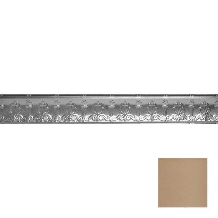 Tin Plated Stamped Steel Cornice | 4in H x 4in Proj | Warm White Finish | 4ft Long