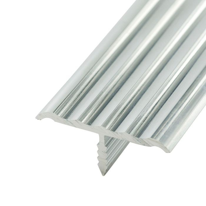 1-1/4in Mechanical Polished Finish | Rigid Aluminum | Center Barb Rippled Tee Moulding | 12ft Length