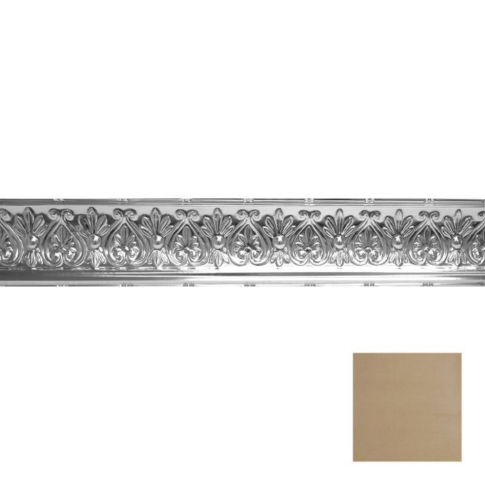Tin Plated Stamped Steel Cornice | 6-1/4in H x 6-5/8in Proj | Concord Ivory Finish | 4ft Long