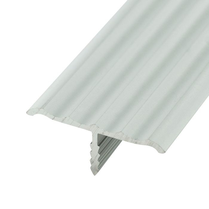 1-1/4in Clear Anodized (Satin) Finish | Rigid Aluminum | Center Barb Rippled Tee Moulding | 12ft Length
