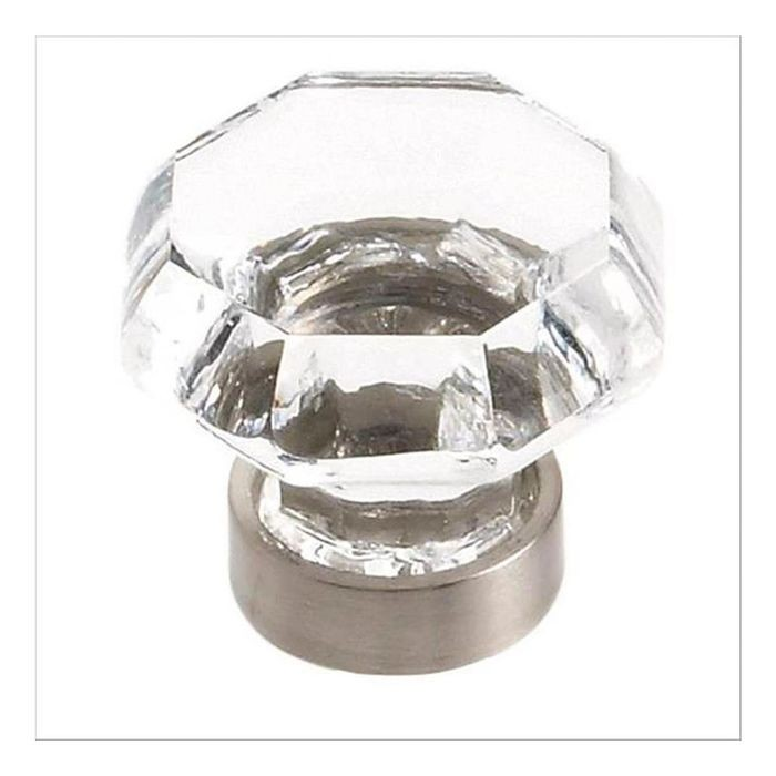 "1 5/16"" Diameter Knob Clear/Satin Nickel"