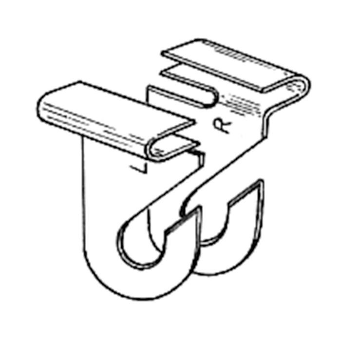"1 1/4"" L X 1"" Aluminum Right Ceiling Hook"