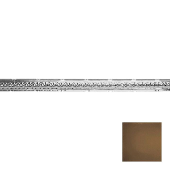 Tin Plated Stamped Steel Cornice | 2-1/2in H x 2-1/2in Proj | Kona Gold Finish | 4ft Long