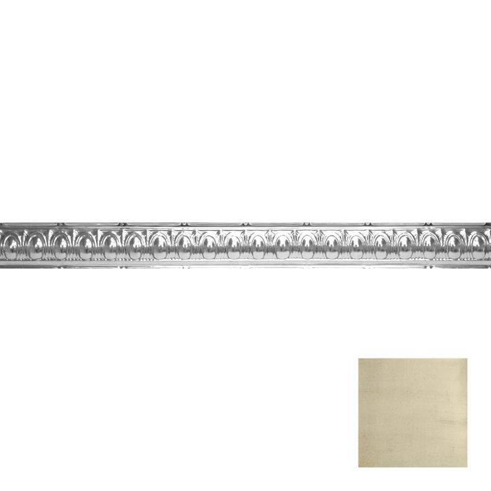 Tin Plated Stamped Steel Cornice | 3-1/2in H x 3-1/2in Proj | Antique White Copper Finish | 4ft Long